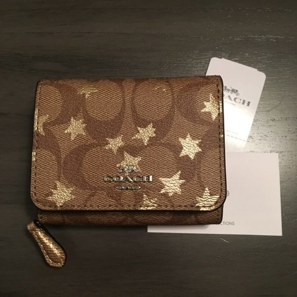 45d710af5347 NWT  150 Coach Small Trifold Wallet Pop Star Print